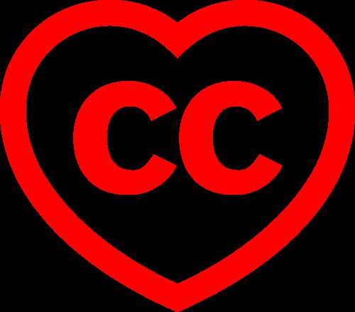 En la imagen se ven dos letras c, que hacen referencia a Creative Commons, dentro de un corazón